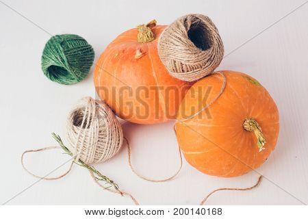 Two Mini Pumpkins On White Background.