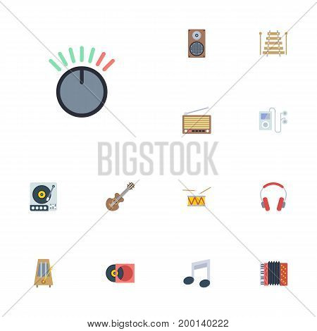 Flat Icons Tambourine, Musical Instrument, Harmonica And Other Vector Elements