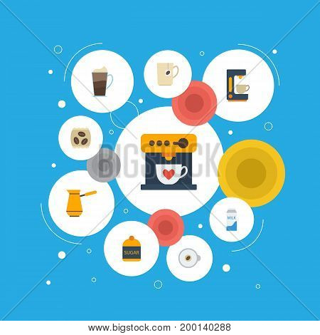 Flat Icons Ibrik, Coffeemaker, Latte And Other Vector Elements