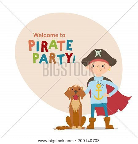 Little boy in pirate hat and cape standing with labrador dog and space for text cartoon vector illustration isolated on white background. Kid boy dressed as pirate, full length portrait with brown dog