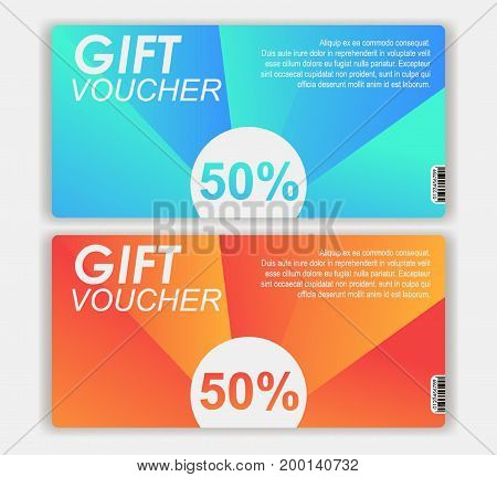 Gift voucher template with colorful modern style , pop art design vector illustration