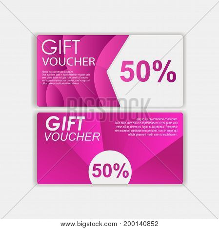set of double vouchers. Gift voucher template. Gift voucher template with clean and modern pattern. Colorful modern style