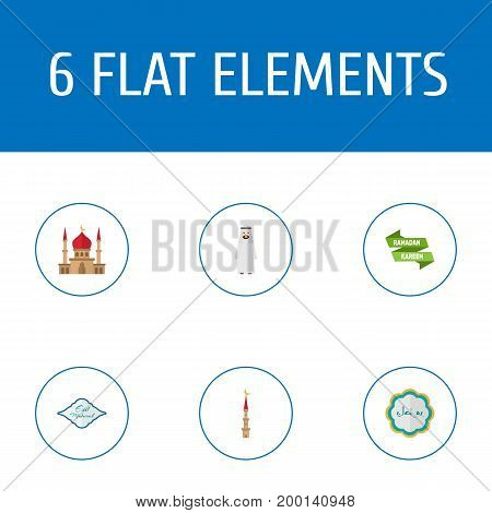 Flat Icons Minaret, Decorative, Arabian And Other Vector Elements