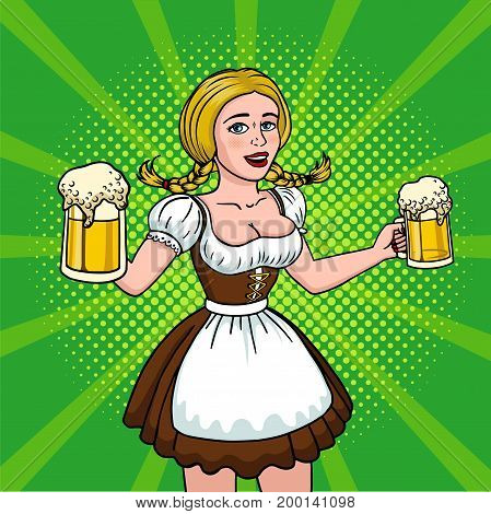 Beautiful blonde with two mugs of beer. Girl oktoberfest pop art. Vector illustration in comic style. EPS 10