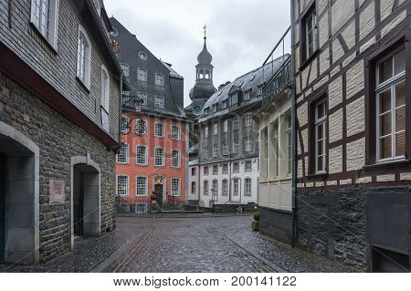 Half-timbered houses of Monschau a small resort town in the Eifel region of western Germany