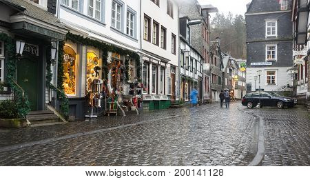 MONSCHAU GERMANY - FEBRUARY 20 2016: Old houses of Monschau a small resort town in the Eifel region of western Germany