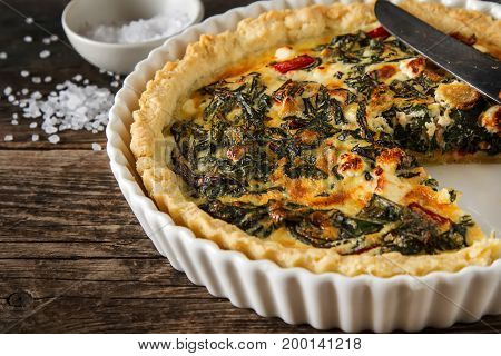 Homemade Cheese Quiche Egg For Brunch With Spinach And Chard