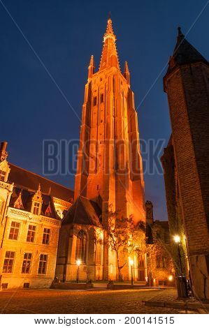 Church of Our Lady, the tallest structure in Bruges, Belgium