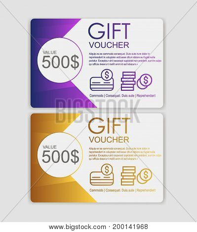 Gift sale template voucher, certificate, coupon design. discount voucher to promote your business and advertising campaign. Sale and discounts modern flyer design.