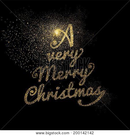Merry Christmas luxury typography greeting card design gold text quote made of golden glitter dust on black background. EPS10 vector.