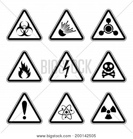 Set of warning danger signs isolated on white background. Vector illustration. Set of triangular warning hazard signs.