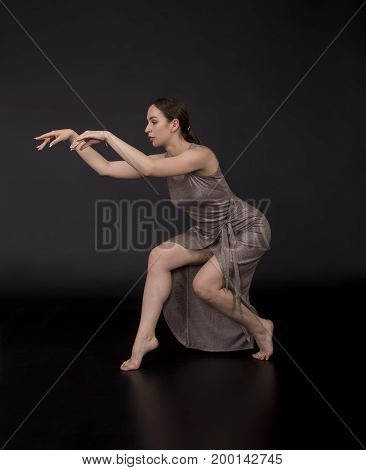 The Girl Dancing Modern Choreography.