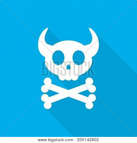 White skull with crossbones. Abstract skull with long shadow on blue background. Vector illustration