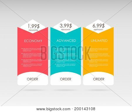 Set tariffs. interface for the site. ui ux vector banner for web app. Pastel pricing table, banner, order, box, button, list and bullet with plan for website. Interface for the site