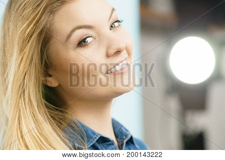 Happiness face expressions concept. Portrait of happy cheerful blonde woman smiling with joy