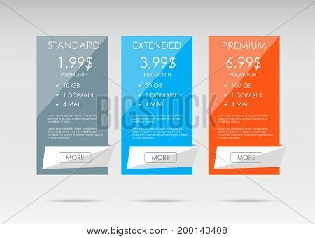Price list, hosting plans and web boxes banners design. three tariffs. interface for the site. ui ux vector banner for web app.