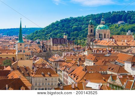 Panoramic view of Prague from the Prague Castle Czech Republic and St. Nicholas Church Mala Strana