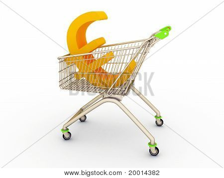 The shopping cart with sign of euro