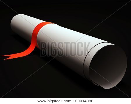 Paper scroll with red stripe