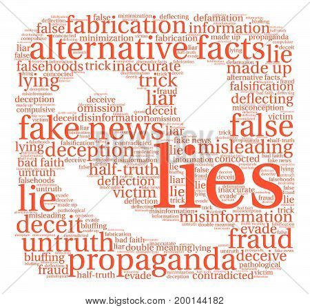Lies word cloud on a white background.
