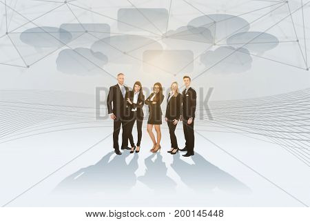 Full length portrait of business people standing on bright background with speech bubbles