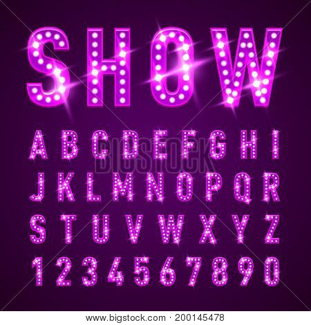 Bulb Lamp Neon Letters Abc Illustration. Magenta Lights. Good for Retro Signboard Poster Banner Flyer Design