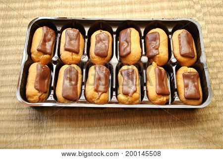 Chocolate Covered Eclairs Ready to be Served as a Delicious Dessert