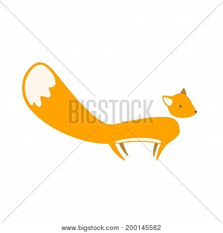 Cute cartoon fox with big tail in flat style. Isolated vector illustration.