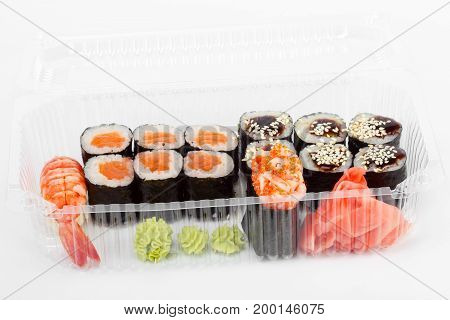 Sushi In Plastic Container. Sushi Delivery. Delicious And Creative Gourmet Cuisine.