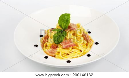 Delicious Gourmet Food On The Table. Gourmet Cuisine In White Dish. Creative Restaurant Concept.