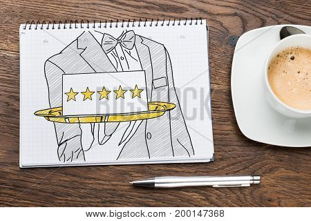 Five Star Hospitality Service Concept In Notepad