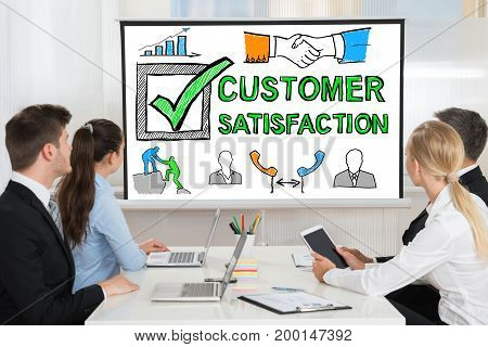 People At Customer Satisfaction Survey Concept Presentation
