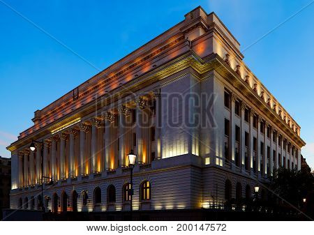 The National Bank of Romania in Bucharest night shot.
