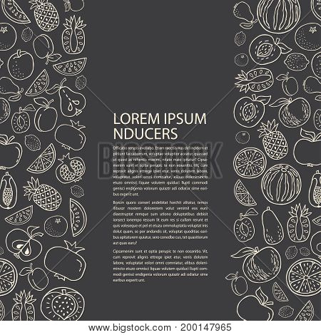 Poster template with hand drawn fruit. Unique line style vector illustration. Organic product for healthy food concept place for text on black background