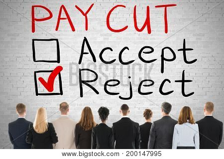 Group Of Workers Looking At Paycut Rejection Concept