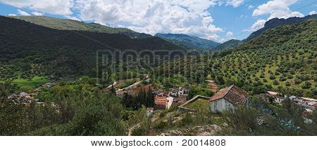 Village in mountain valley in Andalusia Spain