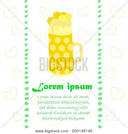 Oktoberfest Leaflet with Beer Mug and Outlined Sweets on the Background. Place for Sample Text. Vector EPS 10