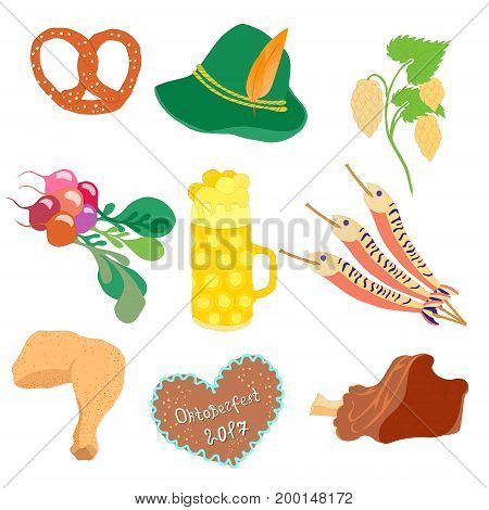Oktoberfest Traditional Food, Beer Mug with Foam, Munich Brewers Hat with Feathers and Hop Twig. Freehand Style Clip Art. Vector EPS 10