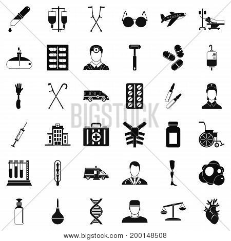 Aid first icons set. Simple style of 36 aid first vector icons for web isolated on white background