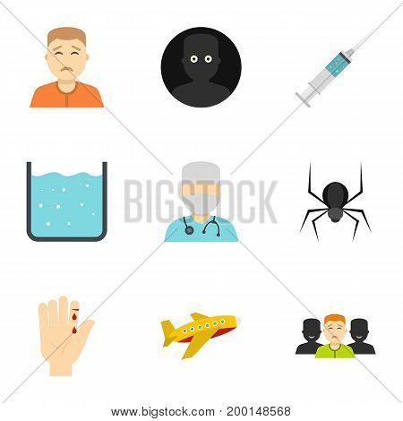 Fear icon set. Flat style set of 9 fear vector icons for web isolated on white background