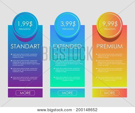 web banners. Price list, hosting plans and web boxes banners design. three tariffs. interface for the site. ui ux vector banner