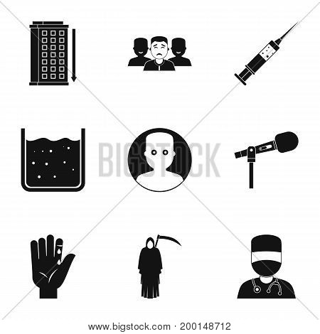 Various phobias icon set. Simple style set of 9 various phobias vector icons for web isolated on white background