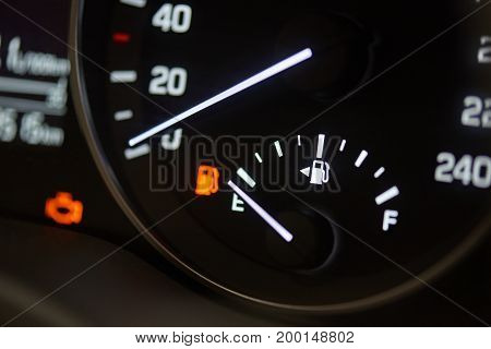 Fuel economy theme. Empty car gas tank