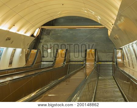 Prague Escalator In Subway Moving Metro Staircase