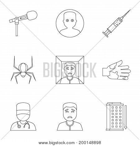 Anxiety and stress icon set. Outline style set of 9 anxiety and stress vector icons for web isolated on white background
