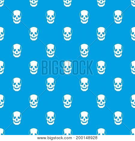 Skull pattern repeat seamless in blue color for any design. Vector geometric illustration