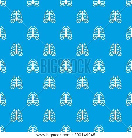 Rib cage pattern repeat seamless in blue color for any design. Vector geometric illustration