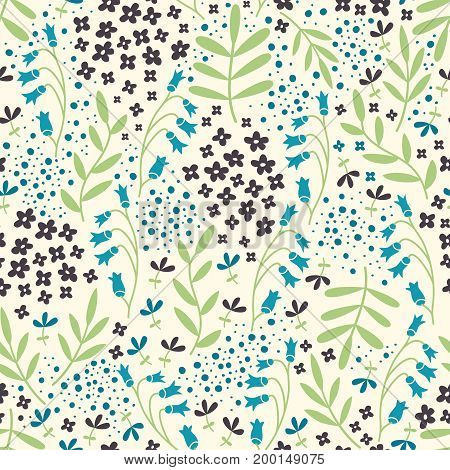 Vector seamless pattern with hand drawn floral elements. Can be used for wallpaper poster design wrapping paper surface texture web backgrounds print on textile and covers