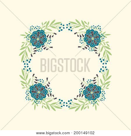 Vector wreath with hand drawn floral elements on light yellow background. Flowers frame with space for text. Decoration for greeting card save the date wedding invitation