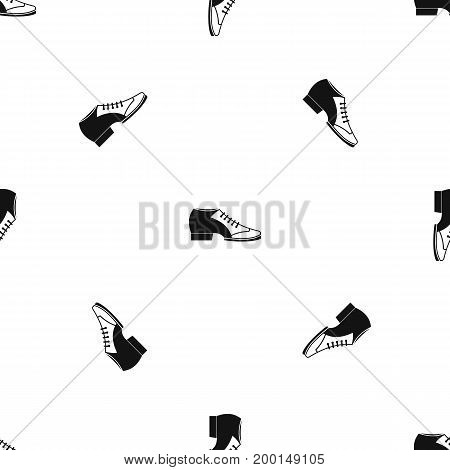 Tango shoe pattern repeat seamless in black color for any design. Vector geometric illustration